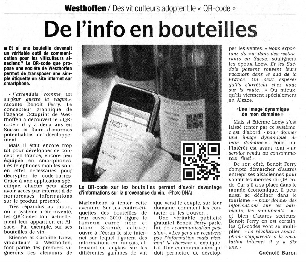 Coupure presse Octoprint et Vins Loew