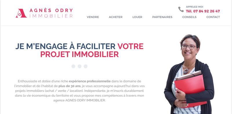 La page d'accueil du site Odry Immobilier à Nordheim en Alsace