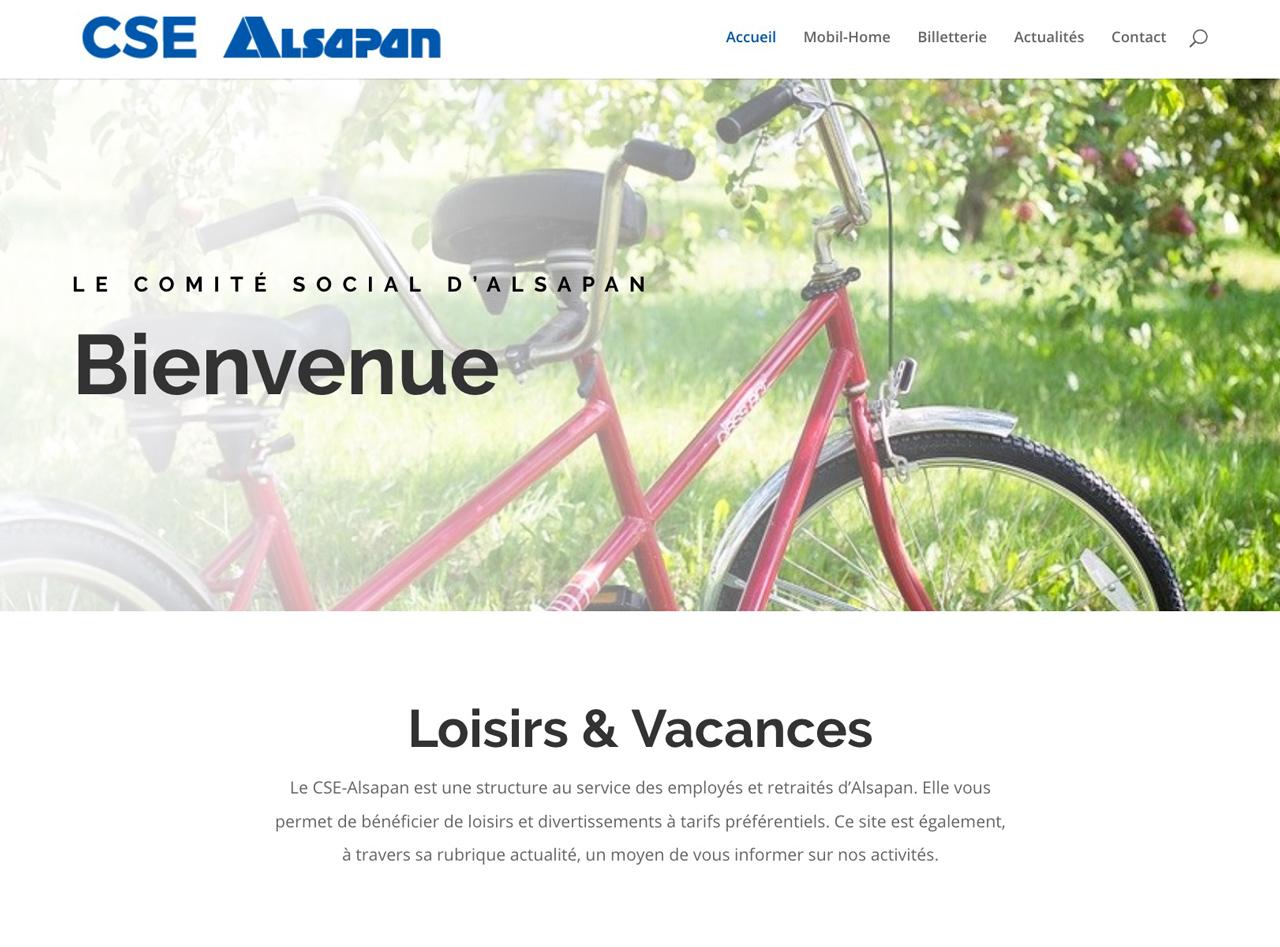 La page d'accueil du CSE Alsapan en Alsace