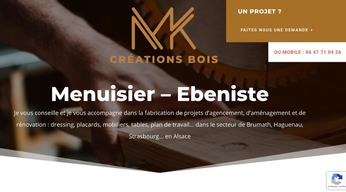 visuel du site internet du menuisier ébéniste MK créations bois à Wittersheim