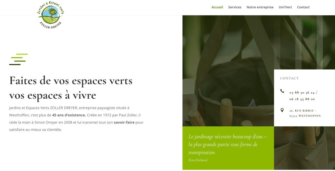 visuel du site internet du paysagiste Dreyer à Westhoffen en Alsace